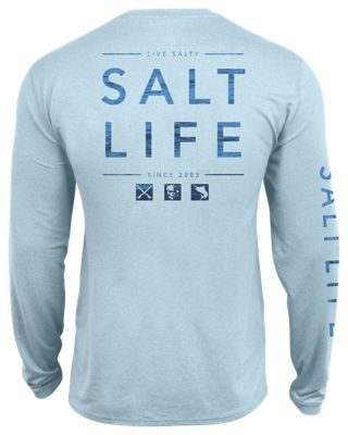 fdb737686d51 Salt Life Water Icons SLX UVapor Long Sleeve Pocket T Shirt for Men Light  Blue Heather 2XL