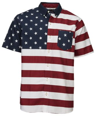 RedHead Colorblock Stars and Stripes Shirt for Men - Multi - 5XL