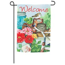 Evergreen Old Garden Shed Double-Sided Suede Reflections Garden Flag
