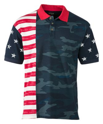 RedHead Camo Stars and Stripes Polo for Men - Multi - 5XL