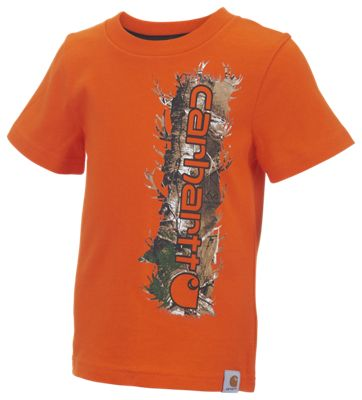 Carhartt Vertical Camo T-Shirt for Toddlers or Kids - Blaze Orange/Realtree Xtra - 3T thumbnail