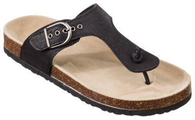 Natural Reflections Perri Toe Post Sandals For Ladies Black 6m