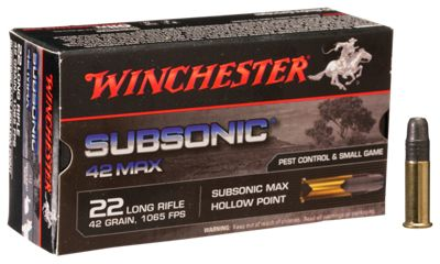 Winchester Subsonic 42 Max Rimfire Ammo Lead Hollow Point 50 rounds