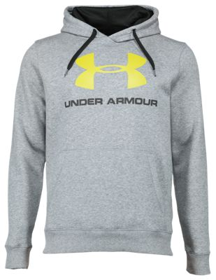 separation shoes 47cb4 d0bb2 Under Armour Rival Fleece Fitted Graphic Hoodie for Men True Gray  HeatherBlack 2XL