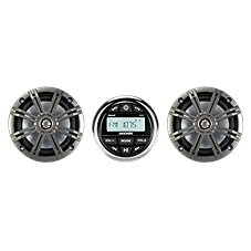 Kicker KMC2 Marine Gauge Digital Media Receiver with Bluetooth and 2 Coaxial Speakers