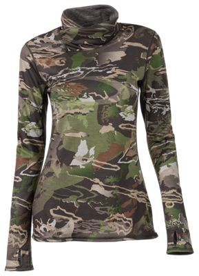 Under Armour Mid-Season Reversible Wool Base Top for Ladies – Ridge Reaper Camo Forest – XLP
