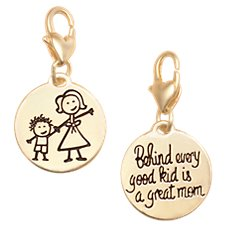 Amanda Blu Heartfelt Emotions Mother and Child Clip-On 2-Sided Medallion