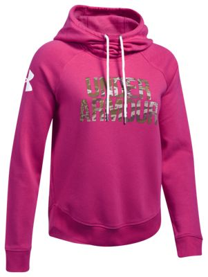 Under Armour Favorite Fleece Camo Logo Hoodie For Ladies Tropic Pink/ridge Reaper Forest M