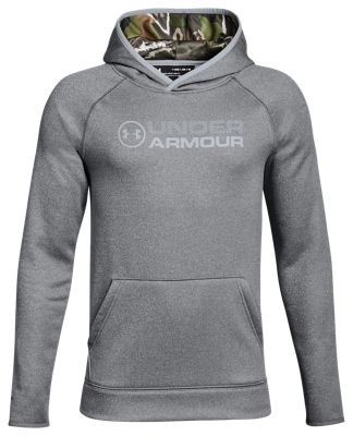 Under Armour Storm Armour Fleece Stacked Hoodie for Kids – Graphite/Ridge Reaper Camo Forest – XS