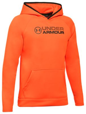 Under Armour Storm Armour Fleece Stacked Hoodie for Kids – Blaze Orange/Black – L