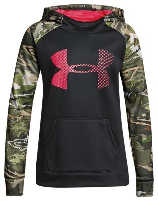 Under Armour Armour Fleece Camo Blocked Big Logo Hoodie for Girls – Black/Ridge Reaper Forest – L