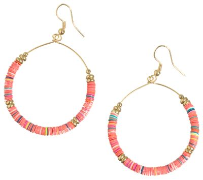 Pink House Coral Sequin Mix Drop Hoop Earrings