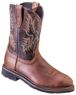 02613c39a53 Ariat Sahara Pull On Roper Toe Work Boots for Men BrownCrazy Black 8M