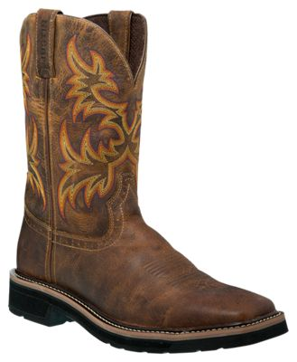 Justin Stampede Cowhide Square Toe Western Work Boots For