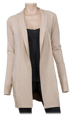 Natural Reflections Paneled Open-Front Cardigan for Ladies - Oatmeal - XL