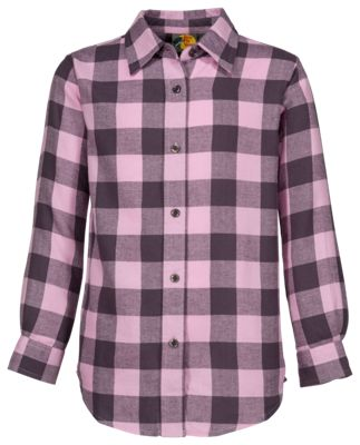 Bass Pro Shops Flannel Shirt for Girls - Pink/Charcoal - XS