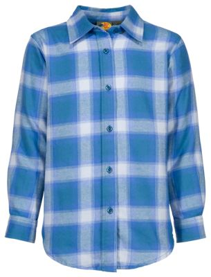 Bass Pro Shops Flannel Shirt for Girls - Turquoise/Purple - L