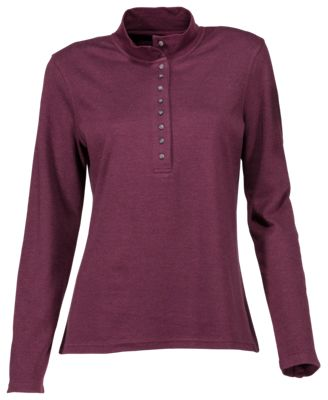 Natural Reflections 10-Button Mock Turtleneck for Ladies - Fig - S