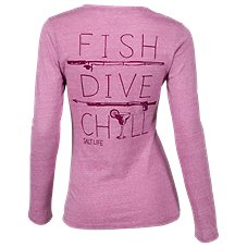 Salt Life Fish Dive Chill Long-Sleeve V-Neck T-Shirt for Ladies