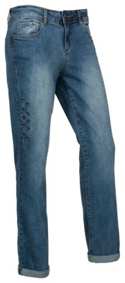 Natural Reflections Embroidered Girlfriend Jeans for Ladies - Vintage Wash - 8