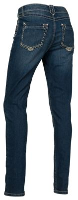 Natural Reflections Thick Stitch Skinny Jeans For Ladies Dark Wash 4