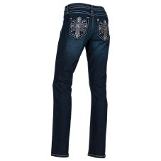 Natural Reflections Bling Cross Straight Leg Jeans for Ladies