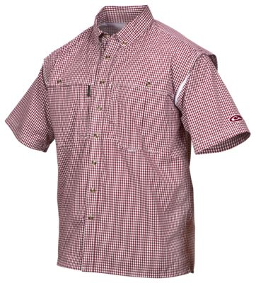 Drake Waterfowl Wingshooter's Gingham Game Day Short-Sleeve Shirt for Men - Red - S