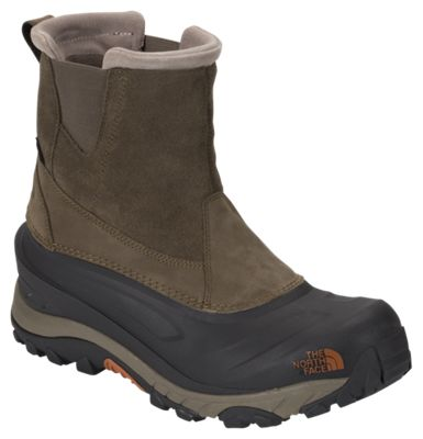 The North Face Chilkat III Insulated Waterproof Pull-On Pac Boots for Men - Mudpack Brown/Bombay Orange - 10.5 M