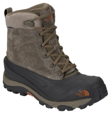 The North Face Chilkat III Insulated Waterproof Pac Boots for Men - Mudpack Brown/Bombay Orange - 8 M