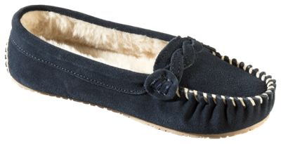 41aad59445d08 Natural Reflections Ellie Moc Slippers for Ladies Navy 9M