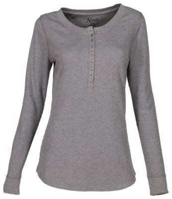 Natural Reflections Waffle Knit Sleep Henley for Ladies - Heather Gray - 2XL