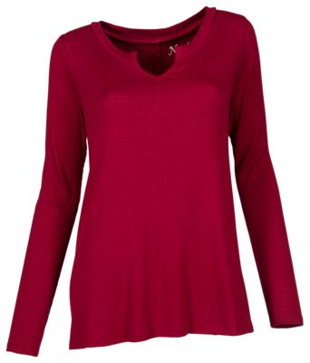 Natural Reflections Notch Neck Top for Ladies - Tibetan Red - 1X