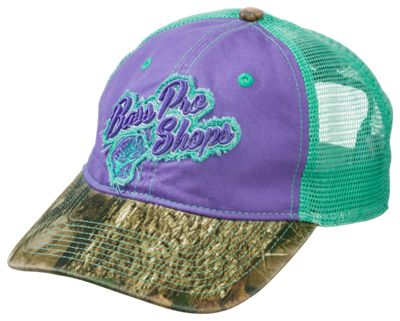 Bass Pro Shops Frayed Logo Mesh Back Cap for Ladies – Mint