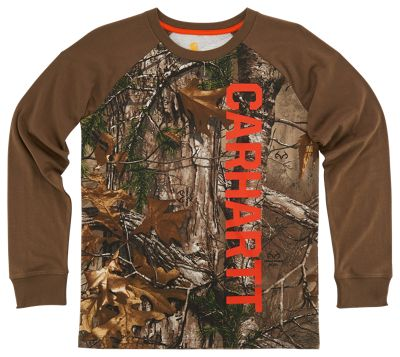Carhartt Camo Raglan Logo Long Sleeve T Shirt for Boys Realtree Xtra 4