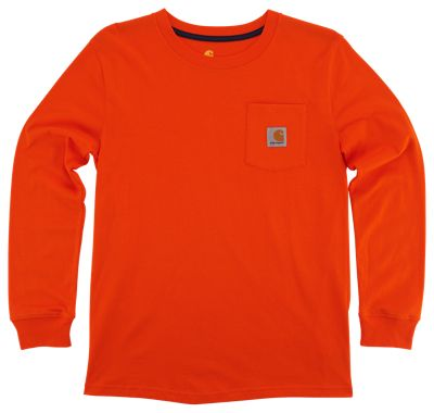 Carhartt Long-Sleeve Pocket T-Shirt for Boys - Blaze Orange - 4 thumbnail