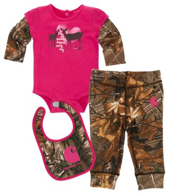 Carhartt Camo 3 Piece Gift Set for Baby Girls Realtree Xtra/Pink 24M