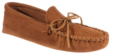 Minnetonka Moccasin Leather Laced Softsole Moccasins for Men - Brown - 8.5M