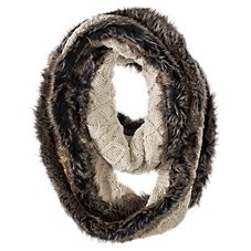 Bob Timberlake Cable and Cream Faux Fur Infinity Scarf for Ladies