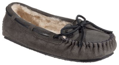 Minnetonka Moccasin Cally Moccasin Slippers for Ladies - Grey - 10M