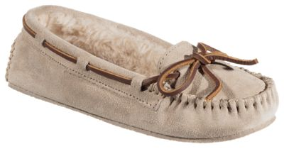 Minnetonka Moccasin Cally Moccasin Slippers for Ladies - Stone - 8M