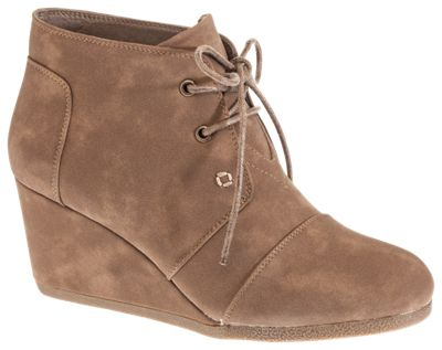 Natural Reflections Shanna Wedge Ankle Boots for Ladies - Taupe - 7M