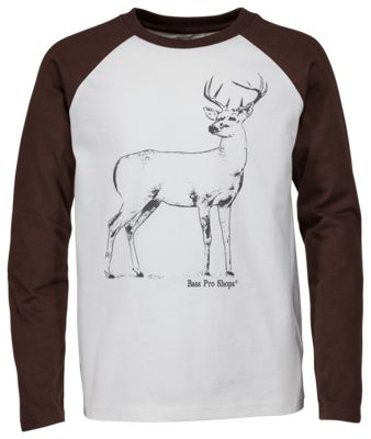 Bass Pro Shops Buck Raglan Shirt for Toddlers or Kids - White/Brown - 3T