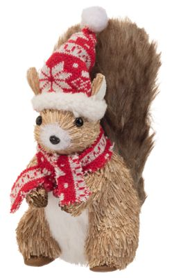 Image of Bass Pro Shops Squirrel with Fabric Hat and Scarf Tabletop Decor