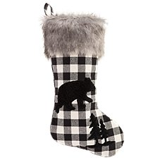 Bass Pro Shops Black and White Buffalo Plaid Bear Christmas Stocking