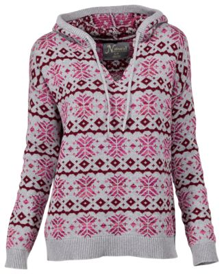 Natural Reflections Fair Isle Hoodie for Ladies - Gray - S