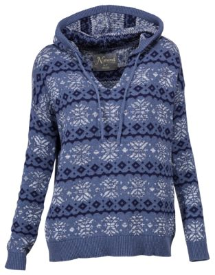 Natural Reflections Fair Isle Hoodie for Ladies - Navy - M