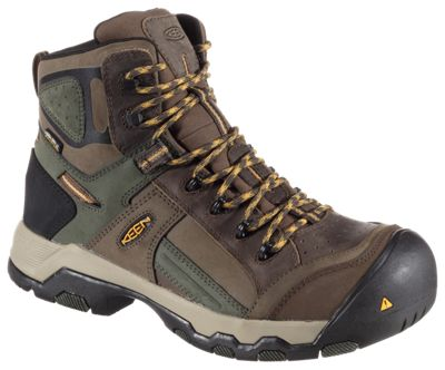 KEEN Utility Davenport Mid Waterproof Safety Toe Work Boots for Men - Shitake/Forest Night - 8M