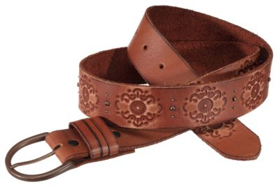 Natural Reflections Antique Buckle Leather Belt for Ladies - Tan - L