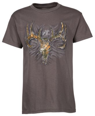 Bass Pro Shops USA Ripped Skull T-Shirt for Kids - Athletic Heather - XS
