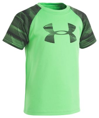 Under Armour Speedlines Big Logo Short Sleeve Shirt for Toddlers or Boys - Lime Twist - 6